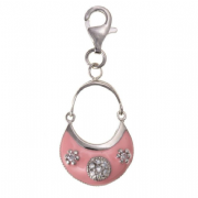 Sterling Silver Clip-on Pink enamelled and cubic zirconia handbag Charm